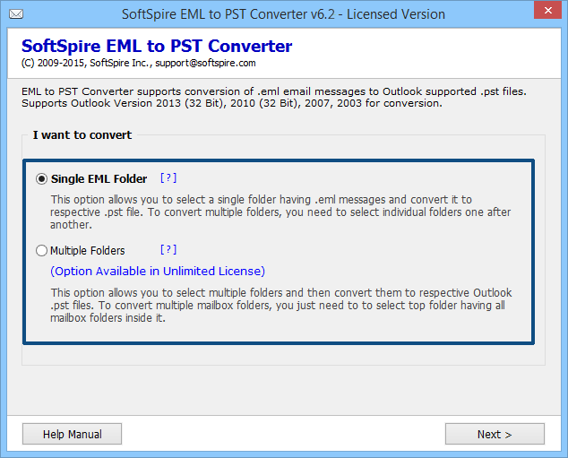 Convert EML Files to Outlook 7.0